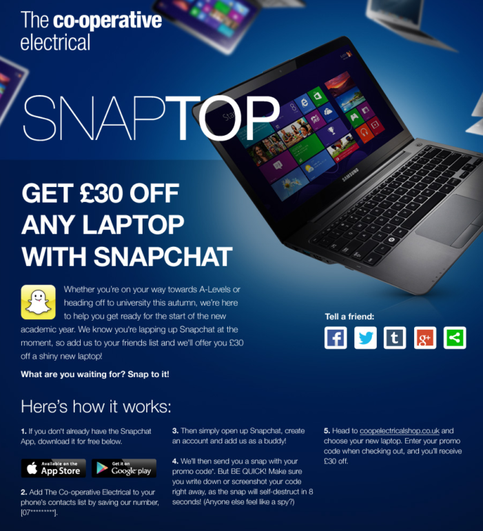 The Co-operative Electrical set to use Snapchat for marketing to students