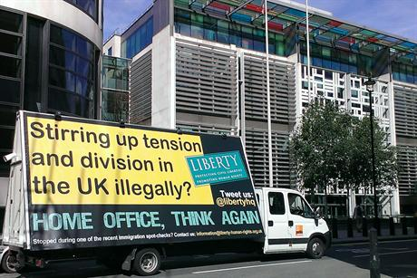 Liberty hits back against Home Office's 'racist' van