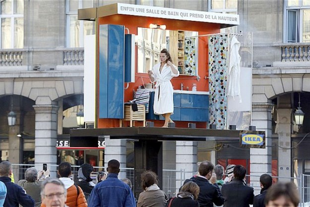IKEA's 'Living Billboards' Show Actors Using The Bathroom In Mid-Air