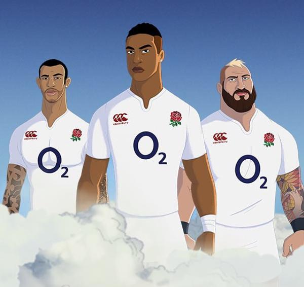 O2 sets itself up as the brand behind the English Rugby team's success with animated ad