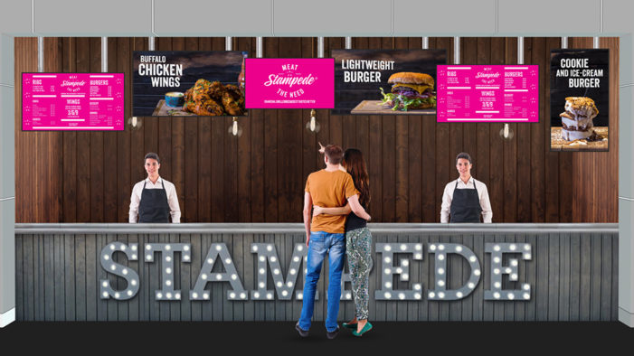 Stampede launches at Lakeside Food Court with digital displays and animation by Kaleidovision