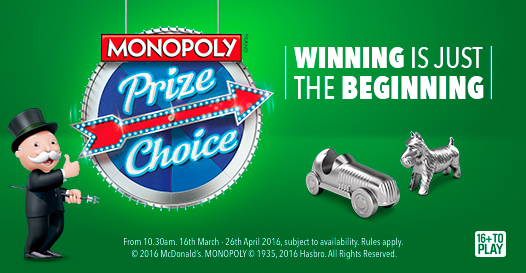 McDonalds team with Hasbro to launch Monopoly Prize Choice