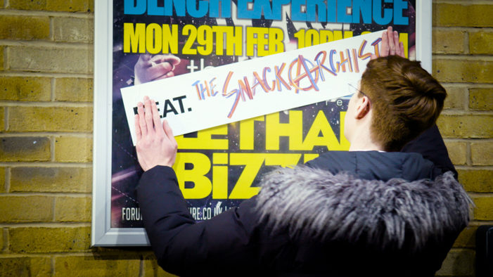 'The Snackarchist' storms stage at Lethal Bizzle performance