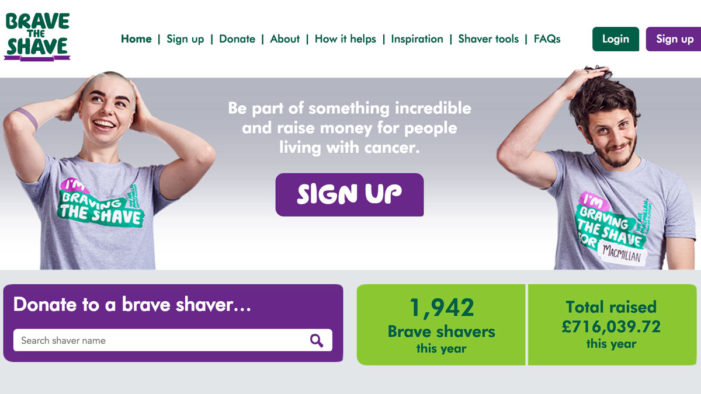"Initials launches new website for Macmillan Cancer Support's ""Brave the Shave"" campaign"