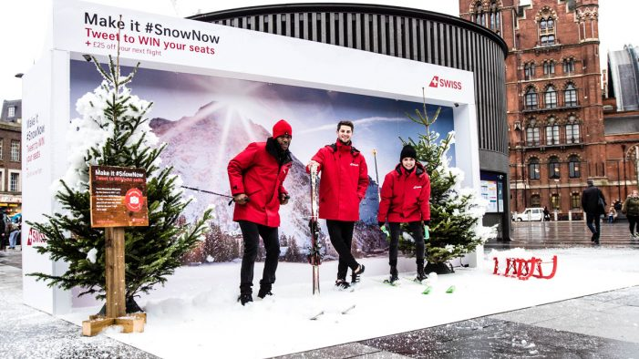 Space brings SWISS snow on demand to King's Cross station