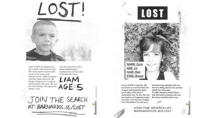 "Boys and Girls unveils stark new Barnardos ""LOST"" campaign"