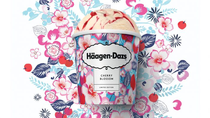 Häagen Dazs Celebrates Valentine's Day with Cherry Blossom Floral Tribute