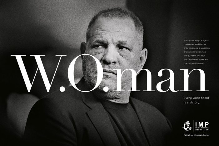 'W.O.' becomes 'W.O.man' in a campaign by F.biz for the Maria da Penha Institute