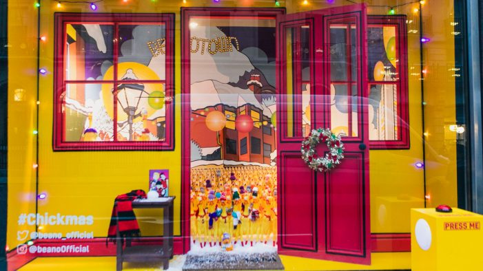 Beano launches bonkers Christmas window display featuring a choir of singing rubber chickens!
