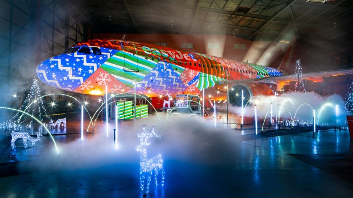 easyJet unveils world's biggest Christmas lights show on a plane at London Luton Airport